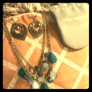 Beautiful Topaz and Silver Necklace and Earring!